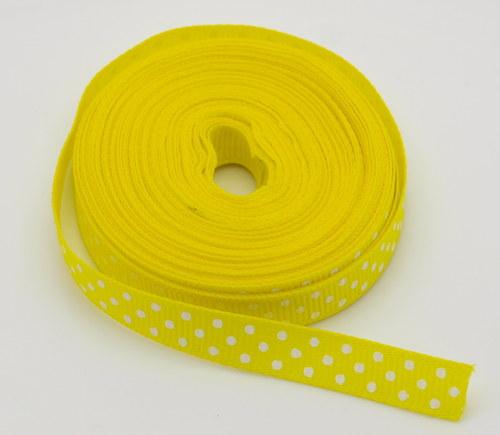 Stuha rypsová s puntíky 10mm - barva žlutá 1m