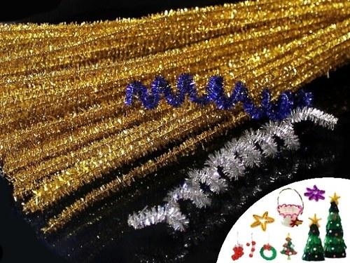 21828-B30 Chlupaté drátky lurex ZLATÉ, bal. 5ks
