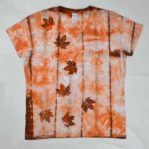 Bílo-oranž.-hněd batikované dámské triko s listy M