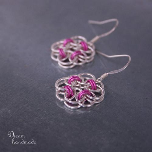 Náušnice Drobečkové v růžové