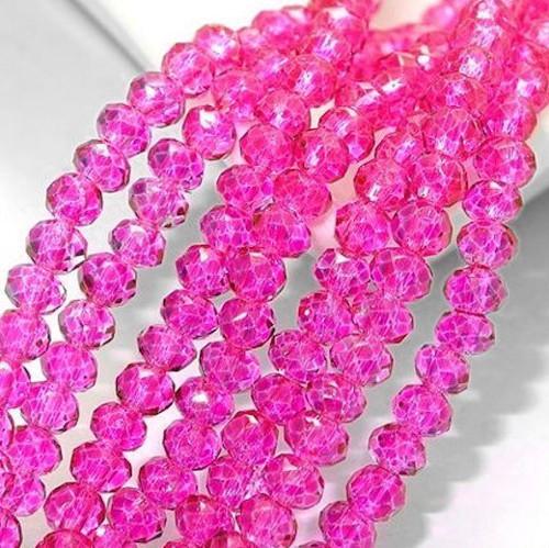 Skleněné korálky 3x3 mm, 100 kusů - fuchsiové