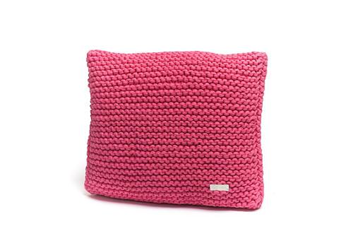 Pletený polštář 40x40 růžový