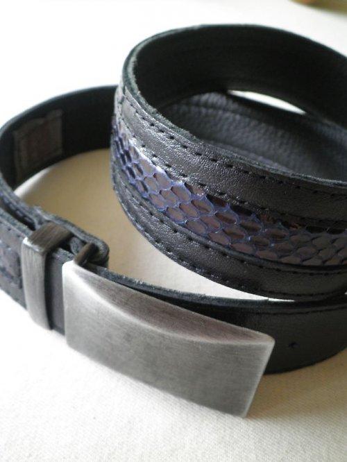 Pánský kožený pásek s hadinou