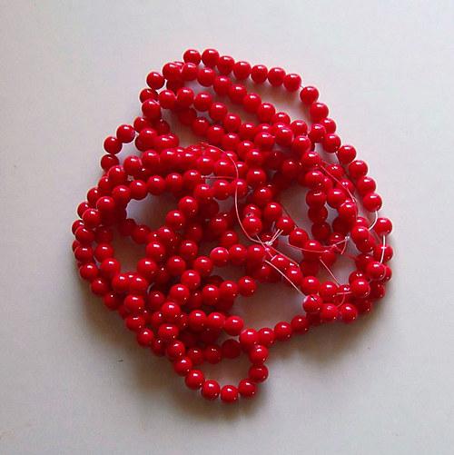 skleněné korálky LESK/ červená/ 6mm/20ks