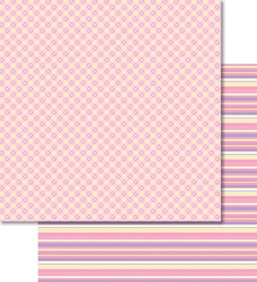Oboustranný papír - Mřížka růžová