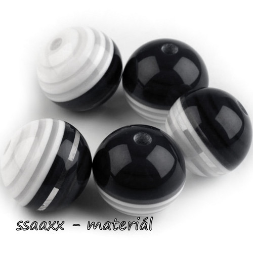 Plastový korálek ~ 18 mm ~ 5 ks ~ černý