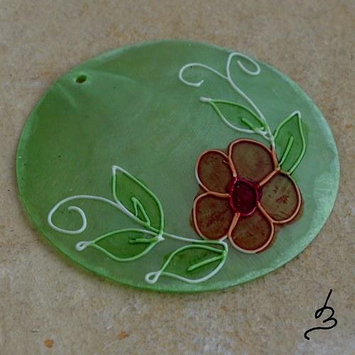 Malovaný perleťový přívěsek SV zelený