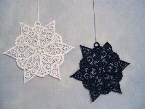 Vánoční ozdoba - sněhová vločka tmavěmodrá A6069