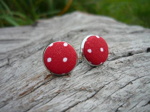 Náušnice Buttonky Red Dots