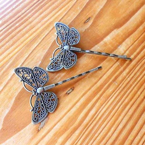 Filigránová Sponka 2ks - Motýlek