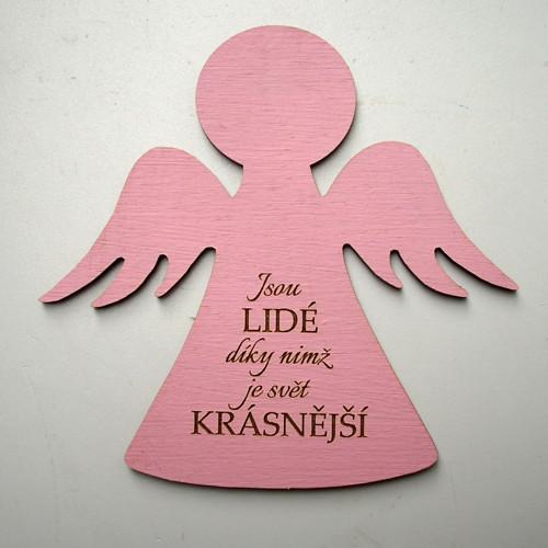 výřez ANDĚLKA 10 cm růžová s textem.... KV0058