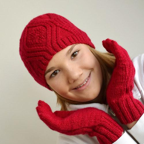 Sada Zralá malina, čepice a rukavice