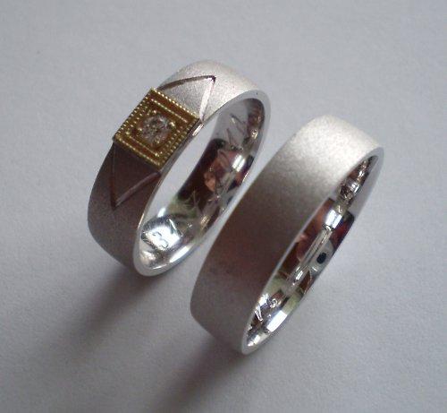 Snubní prsteny z dvojího zlata s Diamantem