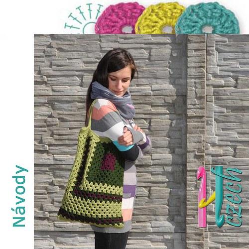 Háčkovaná taška ala patchwork zelená