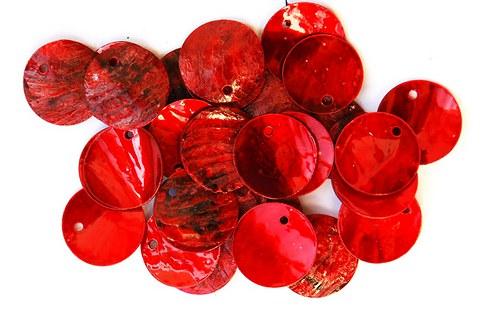 perleťové kolečka červená 1-2cm
