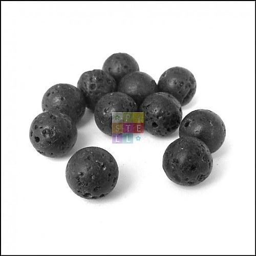 (1203) Lávové korálky, 10 mm - 1 ks
