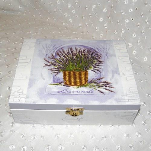 Levandule v košíčku do fialova - krabička na čaj