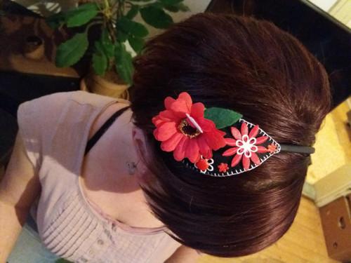 květová čelenka-červená