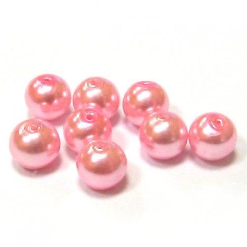 Perla vosková 6 mm - růžová - 10 ks