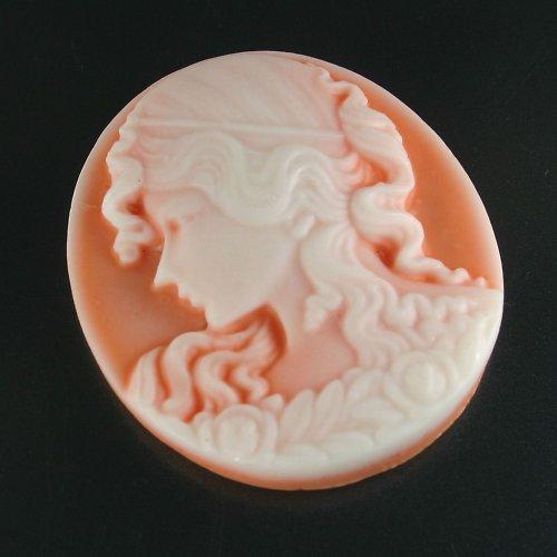 Kamej z pryskyřice - velká oranžová dáma, 1 ks