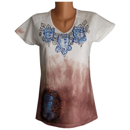 Batikované dámské tričko růžičkové