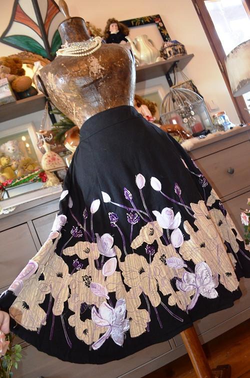 !!! Luxusní krásná polovlněná sukně s aplikacemi