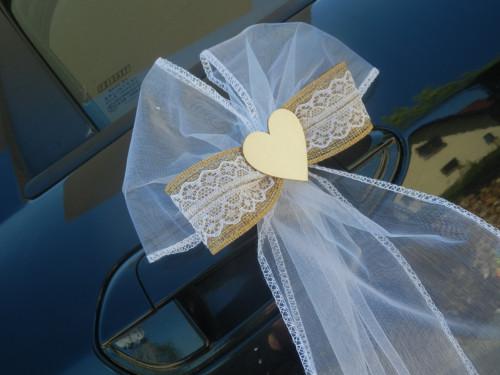 Svatební dekorace, výzdoba aut - mašle na kliky