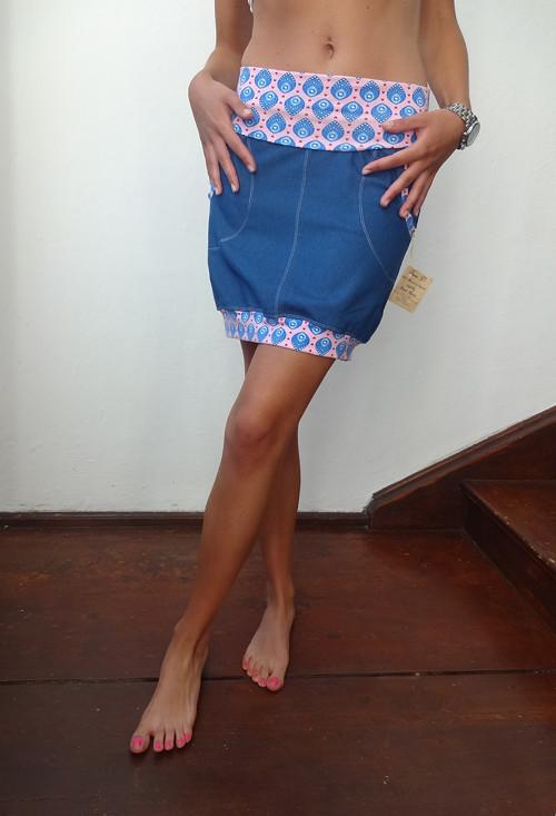 Riflová sukně balonová s kulatou kapsou