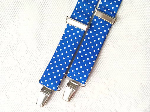 Suspenders for kids (blue/small white polka dots)