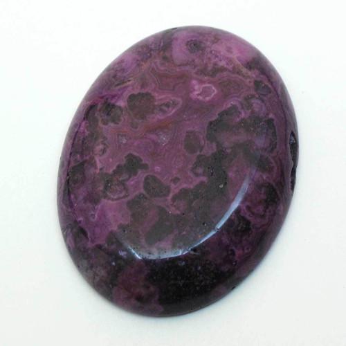 Kabošon fialový krajkový achát ovál 40mm