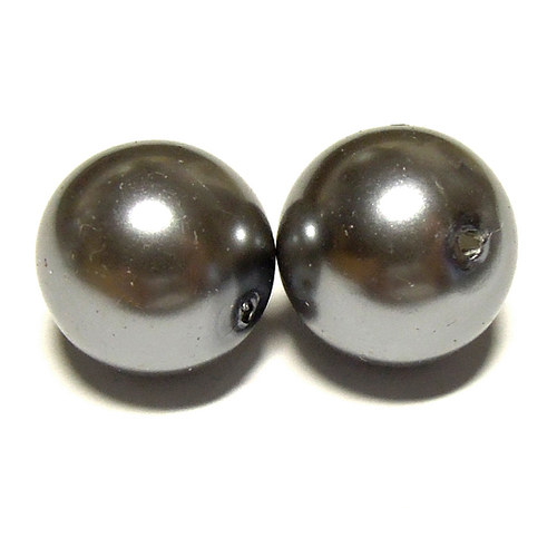 Perly voskové - 12 mm - šedá - 5 ks