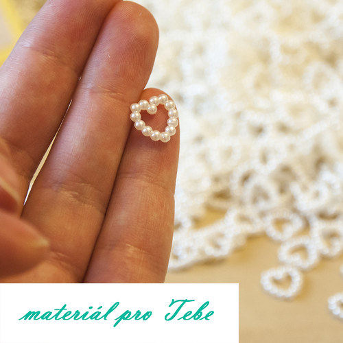 perlové srdíčko - svatba - 50 ks