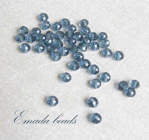 Broušené rondelky, modrá 0,5 x 0,4 cm