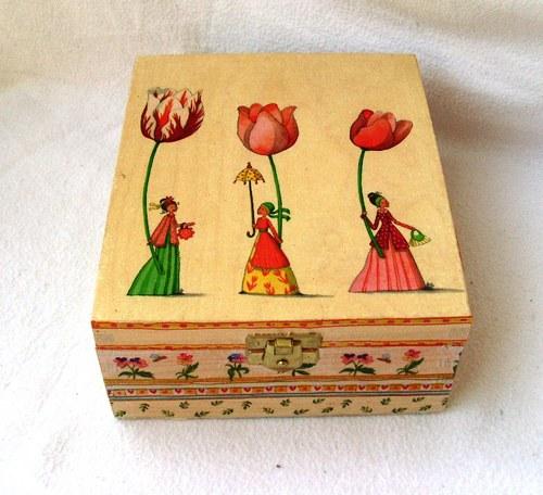 krabička na čaje -tři dámy s tulipány(SLEVA)