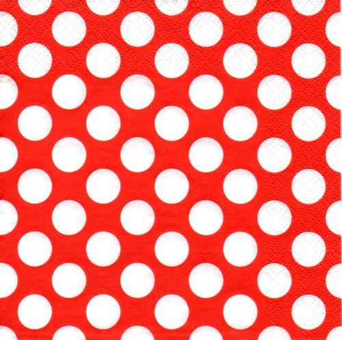 Papírový ubrousek,červený,bílé puntíky,2ks
