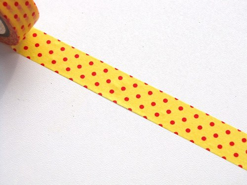 Páska: Červené puntíky na žluté (1,5 x 33 cm)
