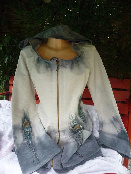 Lněný kabátek s pavím peřím.Vel.44