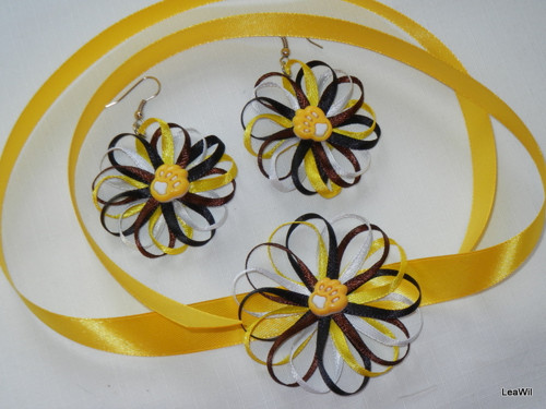 Stužkové květinky náušnice + obojek/náramek ČSP