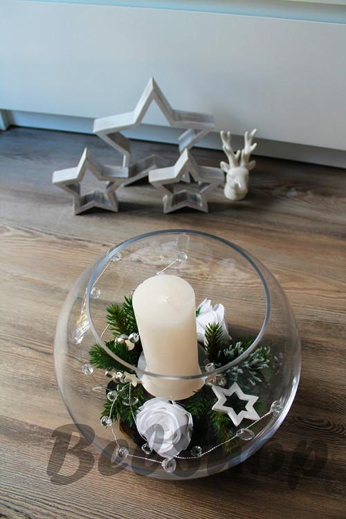 Vánoční svícen v kouli bílý