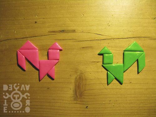 Kapesní tangram pro dva (fuchsiová-zelená)