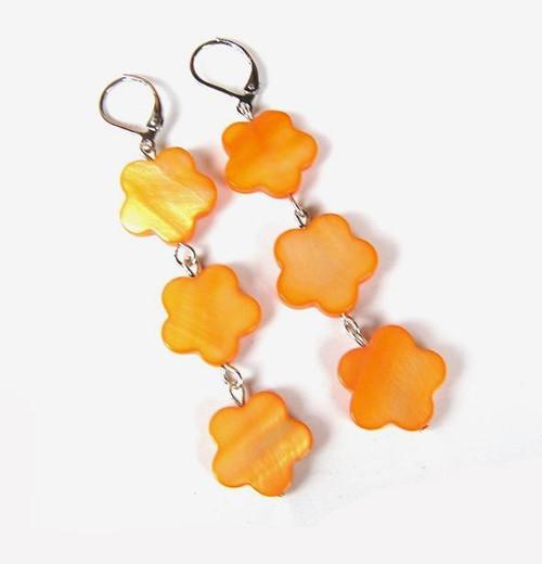 Oranžové kvítky - náušnice