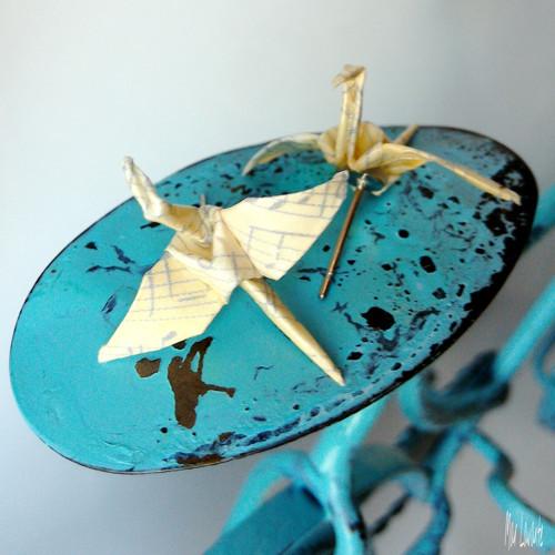 Puzety papíroví origami ptáčci - notičkatí