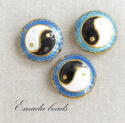 Cloisonne jing jang, modrá, 2 cm