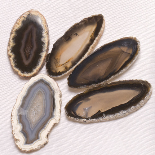 Achát - plátky, sada, 25-31 mm