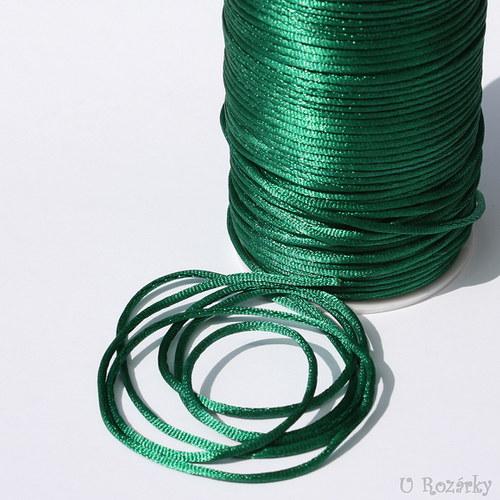 Satén.šňůrka Ø 2mm, tmavší zelená  - cena za 3 m!