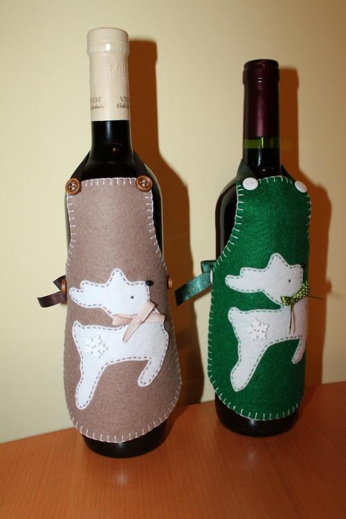 Vánoční ozdoba na láhev ( zástěrka )