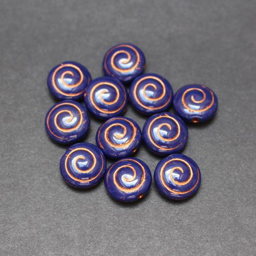 Korálek, disk 5ks 13mm modrá/měď