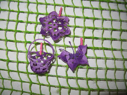 Háčkovaná dekorace - fialová sada