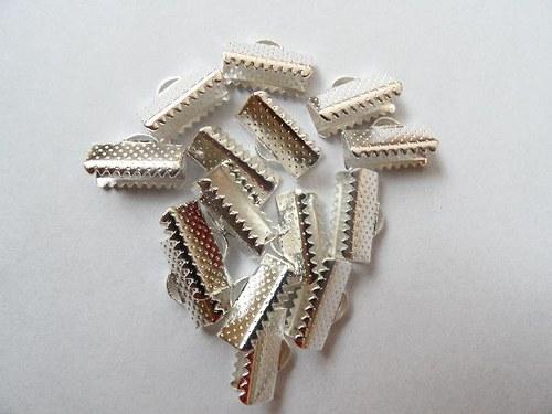 Koncovky na stužky - postříbřené - 13x8mm, 10ks