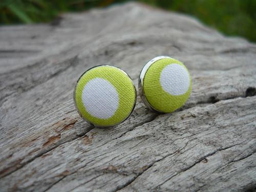 Náušnice Buttonky Green Dots